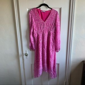 Sink Pink ATEEN Brazil Gold Shimmer midi Dress